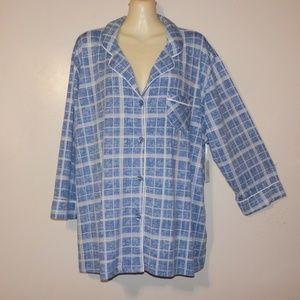 Pj's Soft Sensations 2X Plaid Pajama Top E523